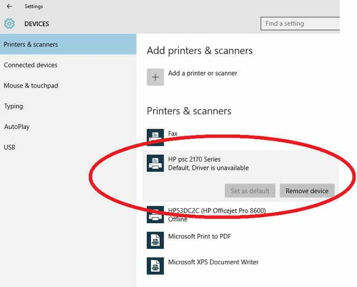 printer driver is unavailable